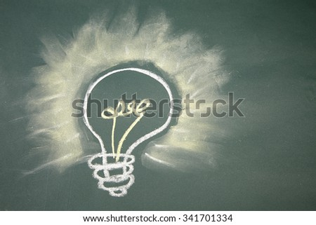drawing- light bulb on blackboard - stock photo
