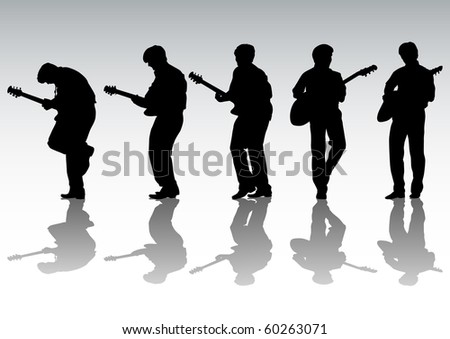 drawing mans with guitar on white background