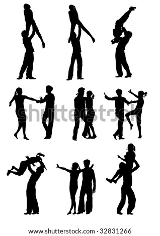 drawing men and women dancing rock 'n' roll on a white background