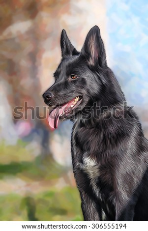 Drawing Mixed breed dog in nature, portrait on a color background