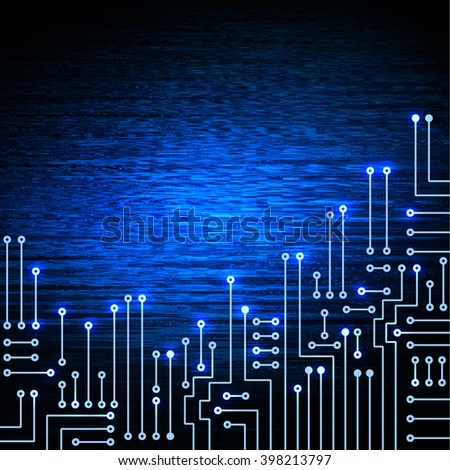 Drawing modern electronic circuit on blue glowing background