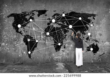 Drawing network on map - stock photo