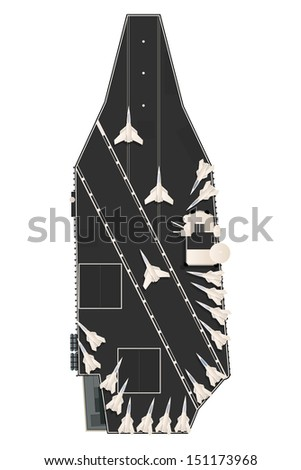 Drawing of a aircraft carrier with fighter planes on deck. - stock photo