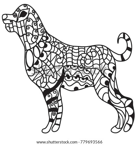 Drawing Of A Big Dog Standing Coloring Page