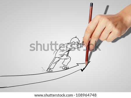 Drawing of a businessman with an upward arrow - stock photo