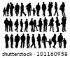 drawing of a collection of silhouettes of men and women - stock vector