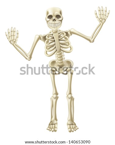 Drawing of a cute cartoon waving skeleton character. Great for Halloween or similar. - stock photo