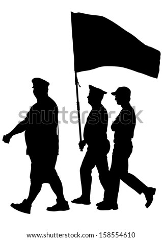 drawing of a group of people with flags - stock photo