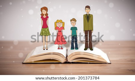 Drawing of a happy family on opened book. The symbol of unity and happiness