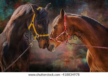 Drawing of a horses, portrait on old vintage color grunge paper background - stock photo