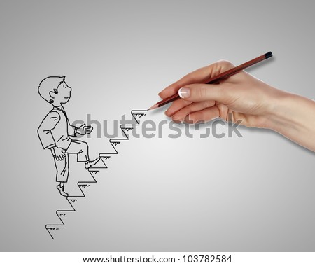 Drawing of a man climbing up the stairs - stock photo