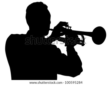 drawing of a man with trumpet on stage