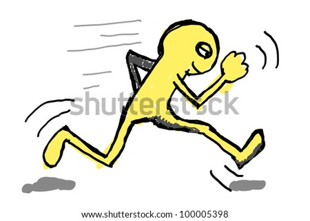 drawing of a person running - stock photo
