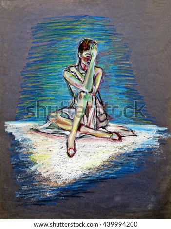 Drawing Sad Lonely Woman Seated On Stock Illustration Royalty Free