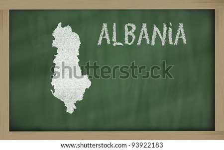 drawing of albania on chalkboard, drawn by chalk