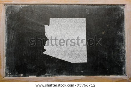 drawing of american state of arizona on chalkboard, drawn by chalk - stock photo