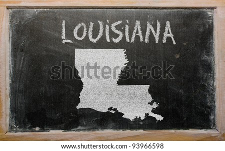 drawing of american state of louisiana on chalkboard, drawn by chalk