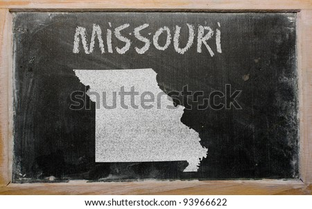 drawing of american state of missouri on chalkboard, drawn by chalk
