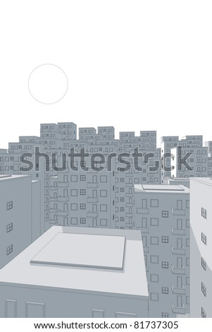 drawing of apartment complex in the evening