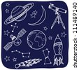 Drawing of astronomical objects - hand-drawn illustration - stock photo