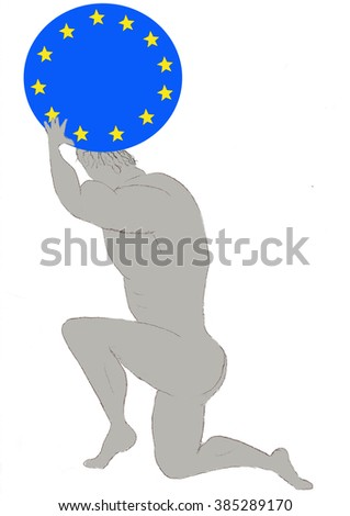 Drawing of Atlas carrying the burden of the European Union on his shoulders - stock photo