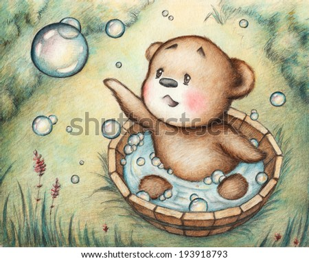 Drawing of Bathing Teddy Bear