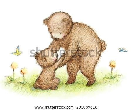 Drawing of bear mother and baby - stock photo