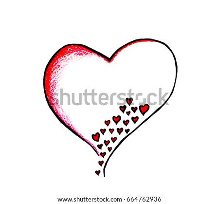 Drawing Big Heart Small Hearts Inside Stock Illustration 664762936
