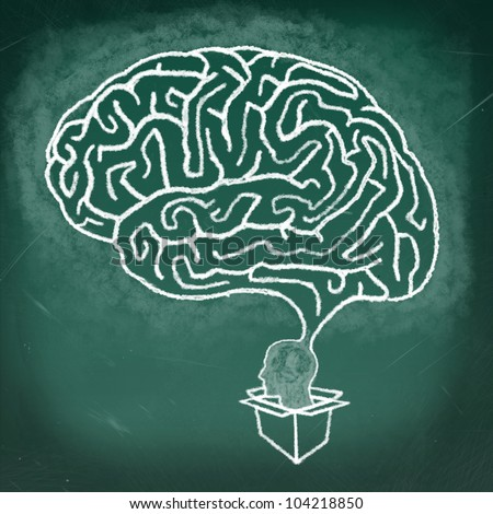 Drawing of Brain maze puzzle on the chalkboard, thinking outside the box concept - stock photo