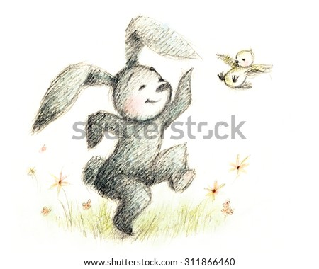 drawing of bunny playing with the bird