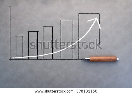 drawing of business bar chart with pencil Creativity idea concept - stock photo