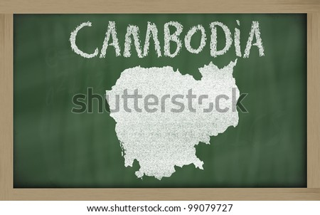 drawing of cambodia on blackboard, drawn by chalk