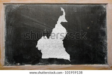 drawing of cameroon on blackboard, drawn by chalk