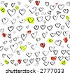Drawing of colourful Valentine Hearts isolated on white background - stock photo