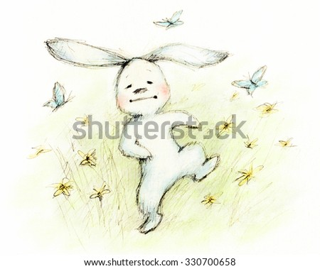 drawing of cute little bunny with butterflies - stock photo