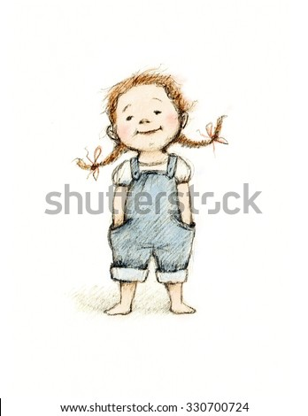 drawing of cute little girl - stock photo