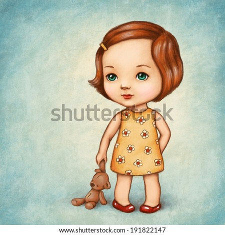 Drawing of cute little girl with teddy bear