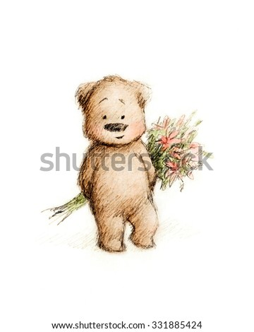 Drawing of cute teddy bear with flowers on white background - stock photo