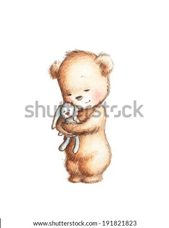 Drawing of Cute Teddy Bear with Toy Bunny