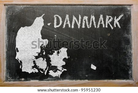 drawing of denmark on blackboard, drawn by chalk - stock photo