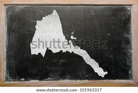 drawing of eritrea on blackboard, drawn by chalk