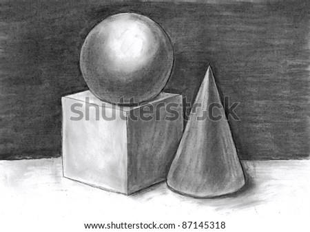 drawing of geometrical figures - stock photo