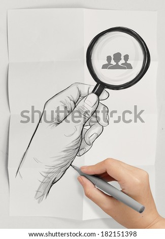 drawing of hand holding magnifier glass looking for employee on crumpled paper background as concept - stock photo