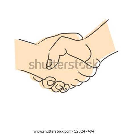 Drawing of handshake.Raster version - stock photo