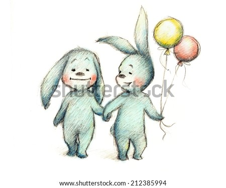 drawing of happy couple of bunnies - stock photo