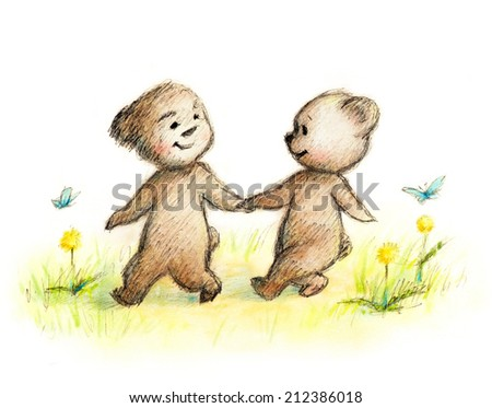 drawing of happy couple of teddy bears - stock photo