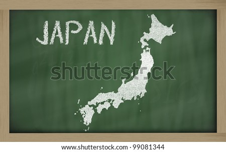 drawing of japan on blackboard, drawn by chalk - stock photo
