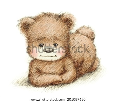 Drawing of laying Teddy Bear - stock photo