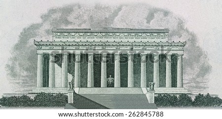 Drawing of Lincoln Memorial in Washington DC Printed on Banknotes - stock photo