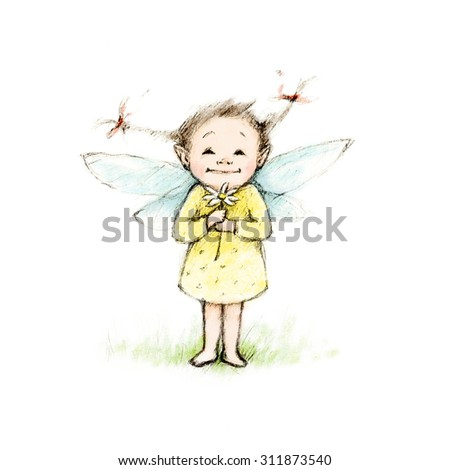 Drawing of little fairy with flower - stock photo